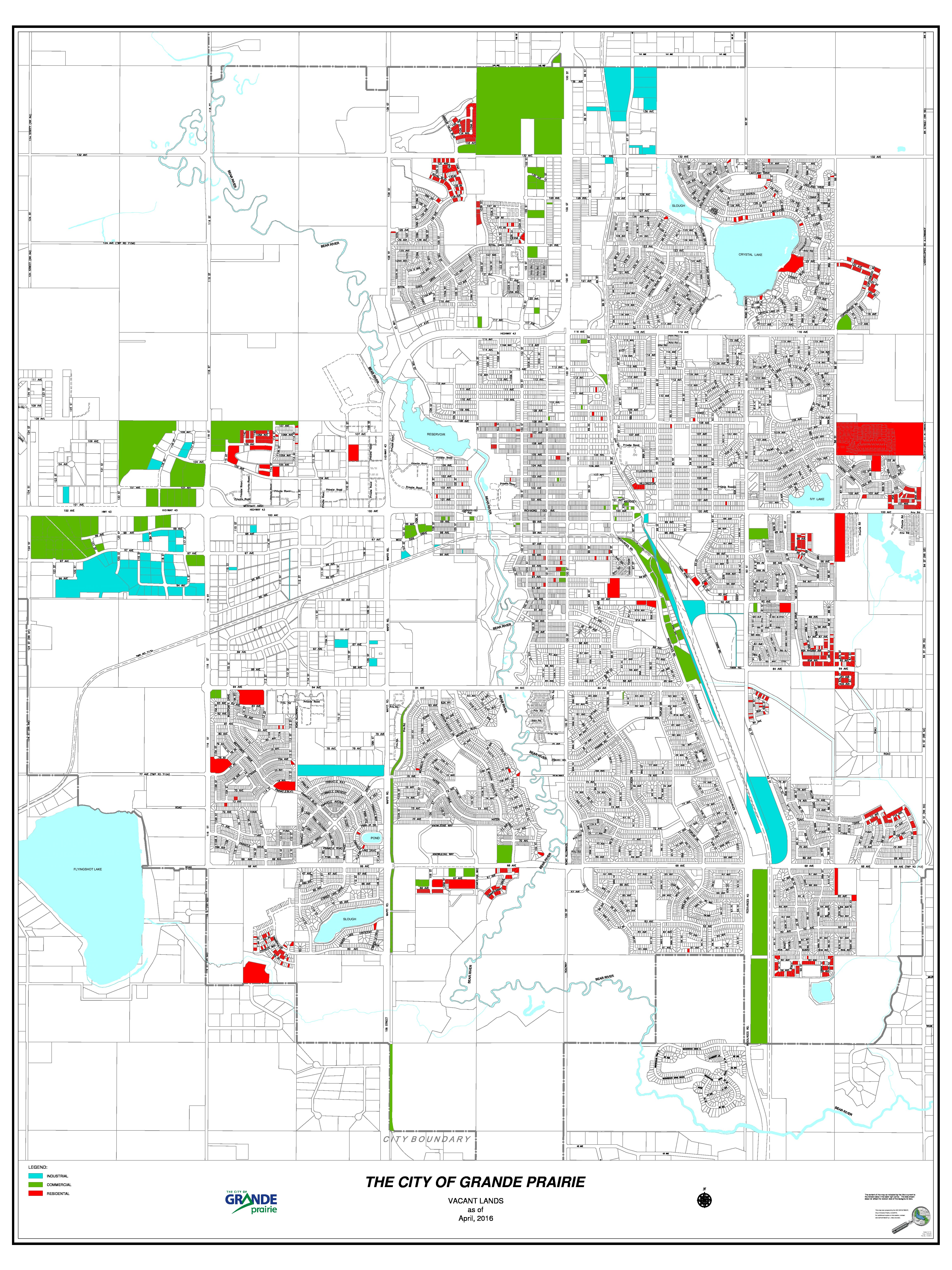 Grande Prairie – Vacant Land Map 2016